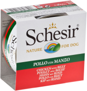 SCHESIR DOG JELLY CHICKEN FILLETS & BEEF 150 GR