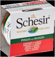 SCHESIR DOG JELLY CHICKEN FILLETS & BEEF 150 GR